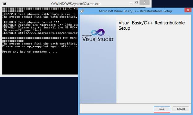 نصب ویژوال بیسیک در مراحل نصب پکیج پیشرفته پارس ویتایگر در ویندوز